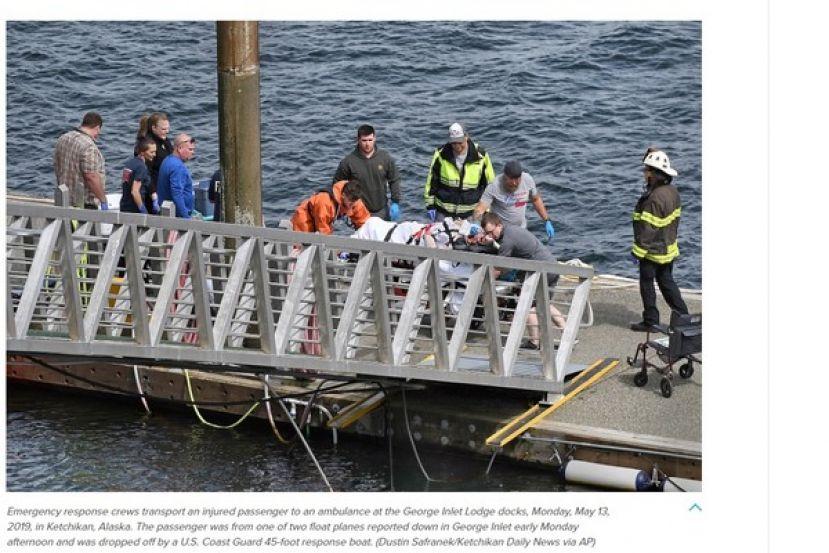 美國阿拉斯加於當地時間13日下午驚傳兩架水上飛機相撞的意外。